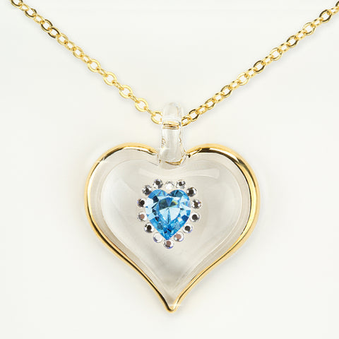 December Birthstone Sparkle Heart Necklace