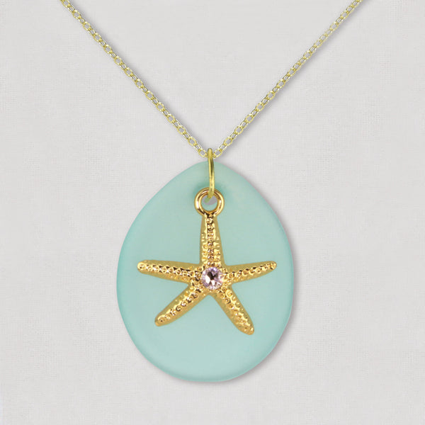 Sea Glass with Starfish Necklace