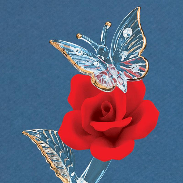 """I Love You"" Butterfly with Red Rose"