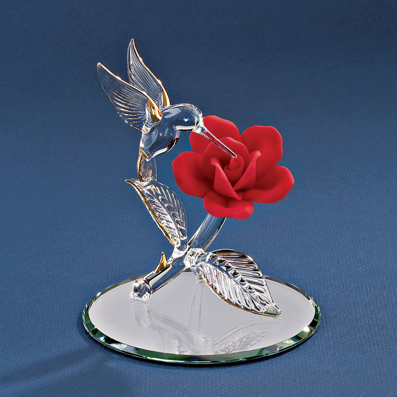 Hummingbird with Red Rose
