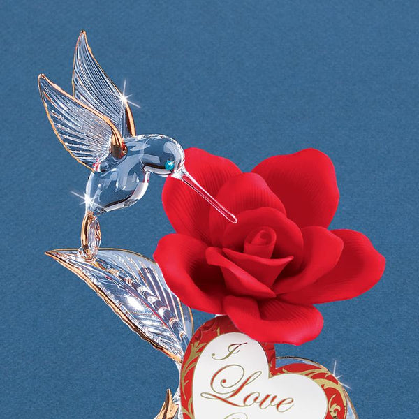 """I Love You"" Hummingbird on Red Rose"