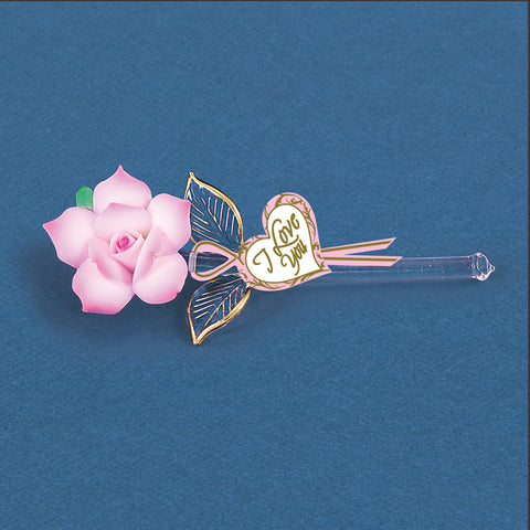 "Mini ""I Love You"" Pink Rose"