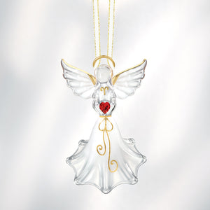 Angel with Red Crystal Heart Ornament