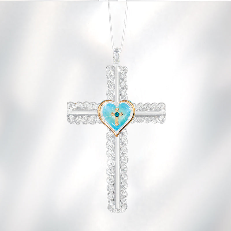 Cross with Turquoise Heart Ornament