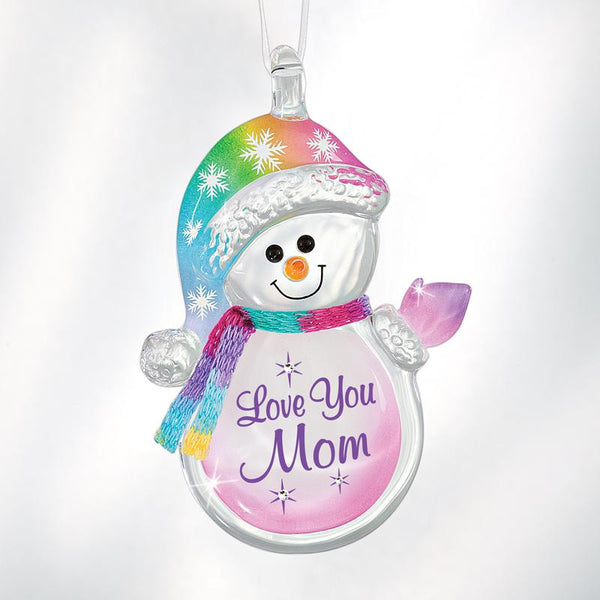 'Love You Mom' Snowman Ornament