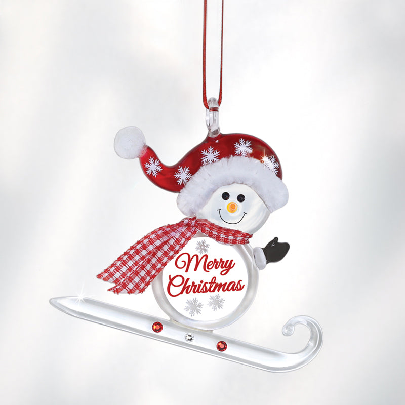 """Merry Christmas"" Sledding Snowman Ornament"