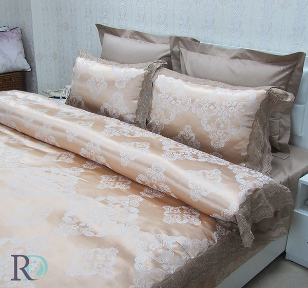 Cotton Sateen Jacquard & Lace Bedding Sets