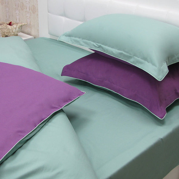 Cotton Sateen Plain dyed Reversible Bedding Sets