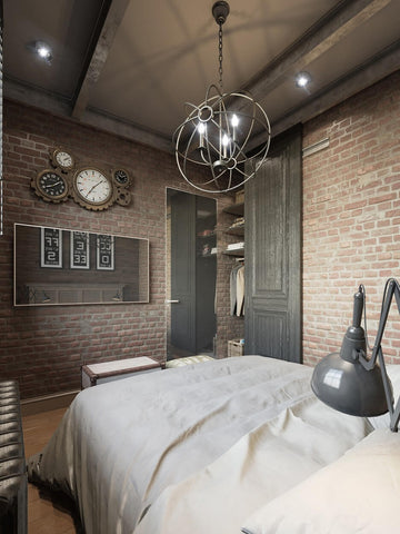 Industrial Inspired Bedroom Lighting