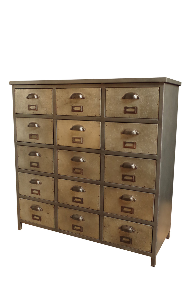 Industrial style 15 drawer iron unit with galvanised finish. Cut out photo.