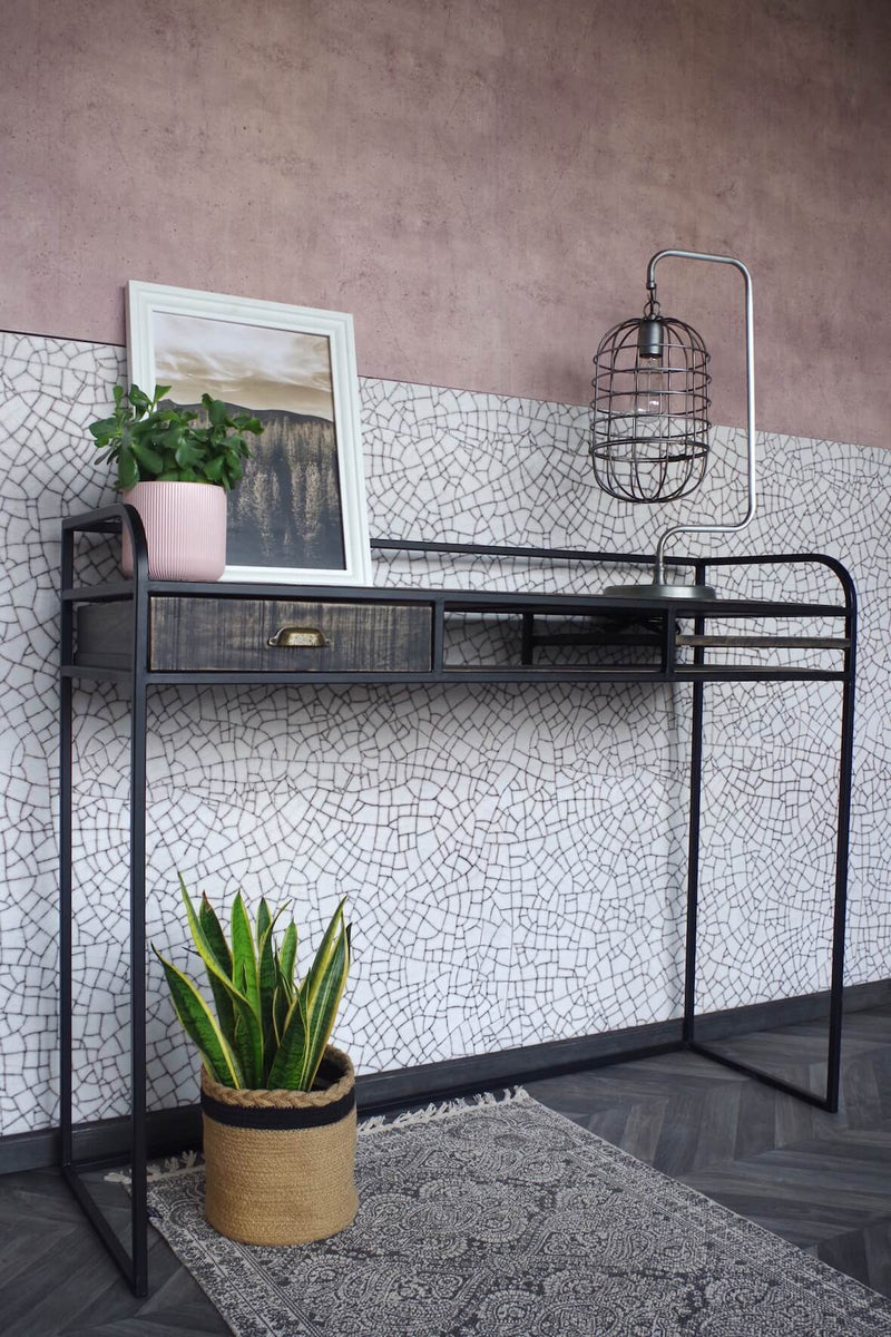 Black Wood and Iron Console Table