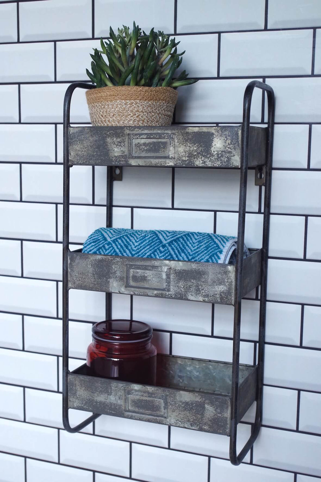 Galvanised 3 Tier Wall Shelf