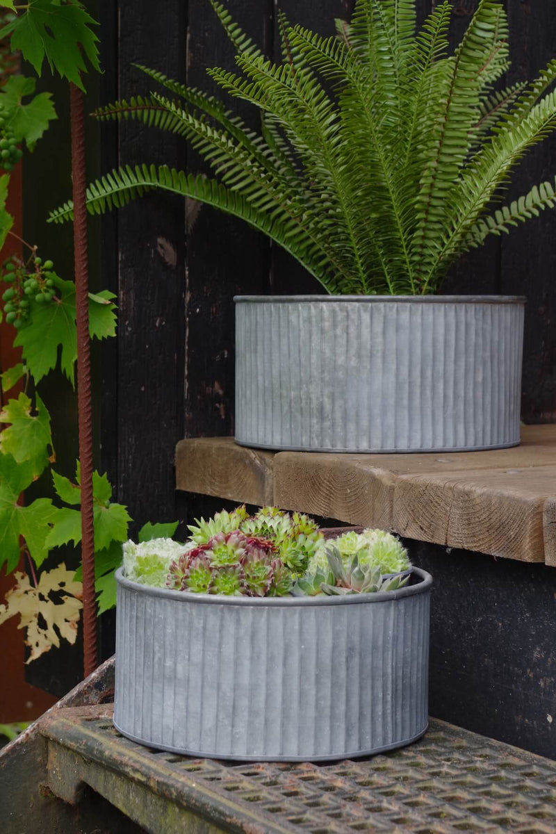 Galvanised Fluted Small Round Planters - Set of 2