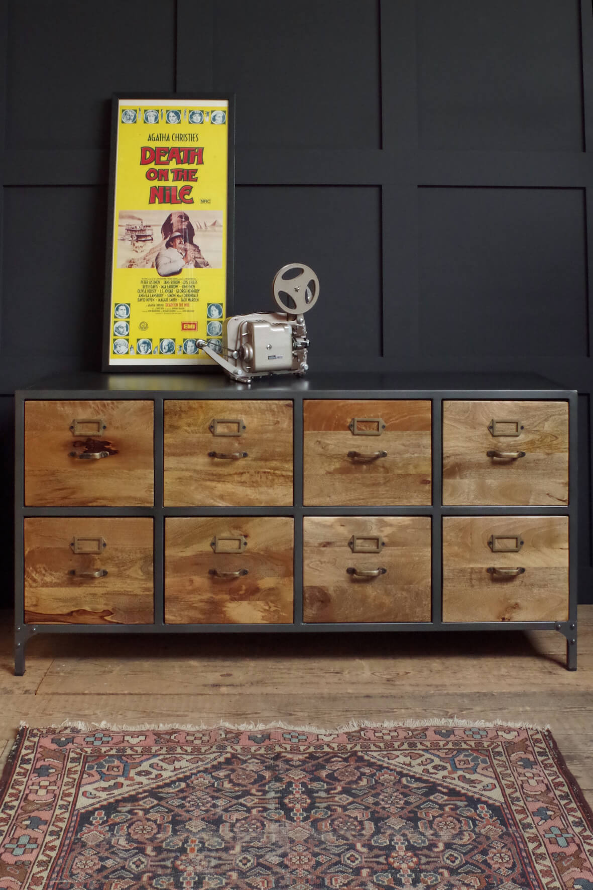 Sideboard with 8 wooden drawers. Industrial style grey metal frame
