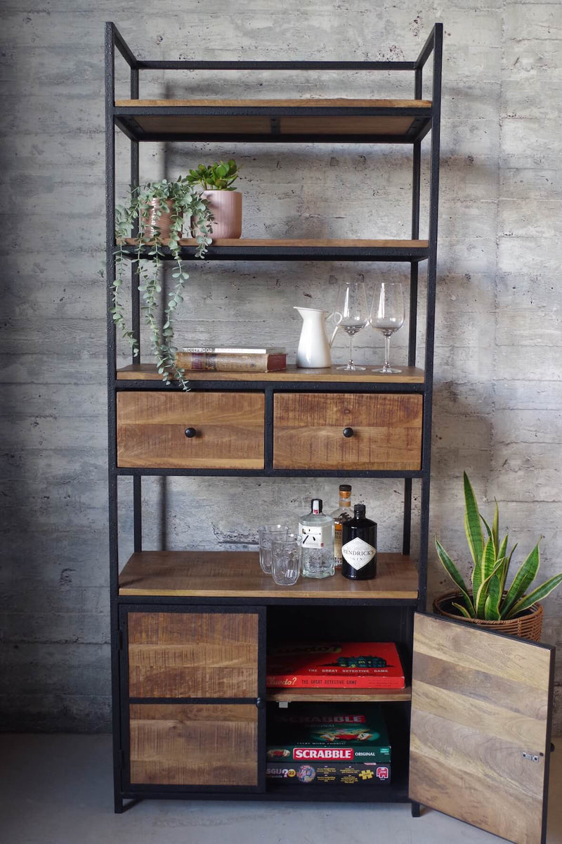 Industrial Bookcase with Cupboards and Drawers