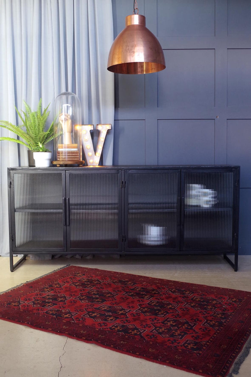 Industrial Fluted Glass Sideboard