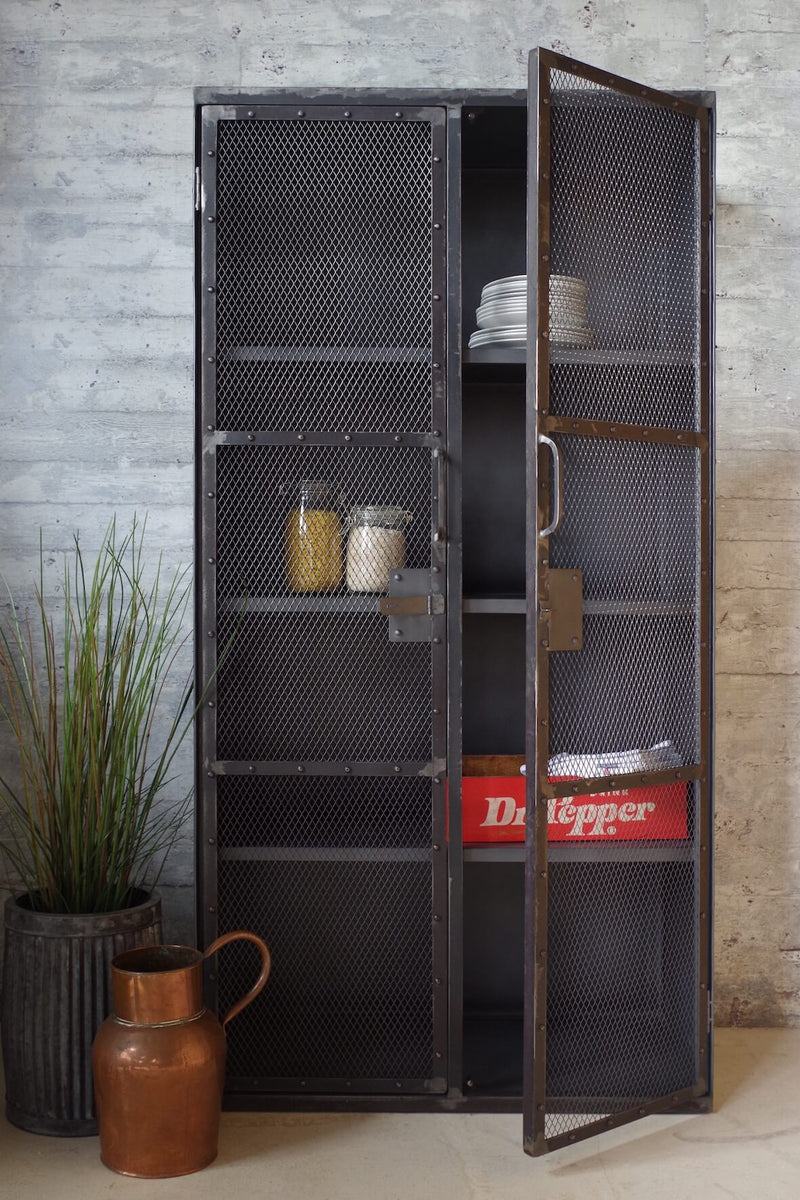 Industrial grey Mesh Cupboard with 3 shelves and lockable doors.