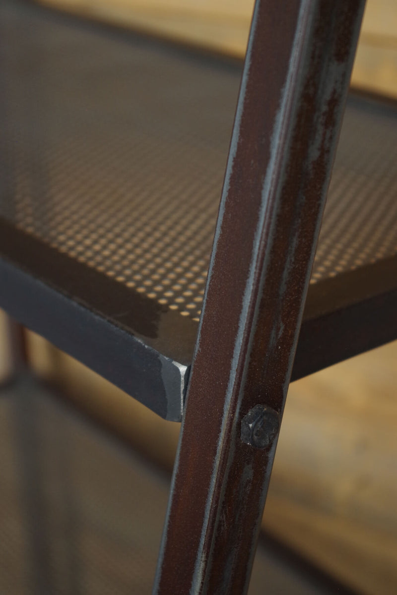 Industrial Perforated Metal Ladder Shelf