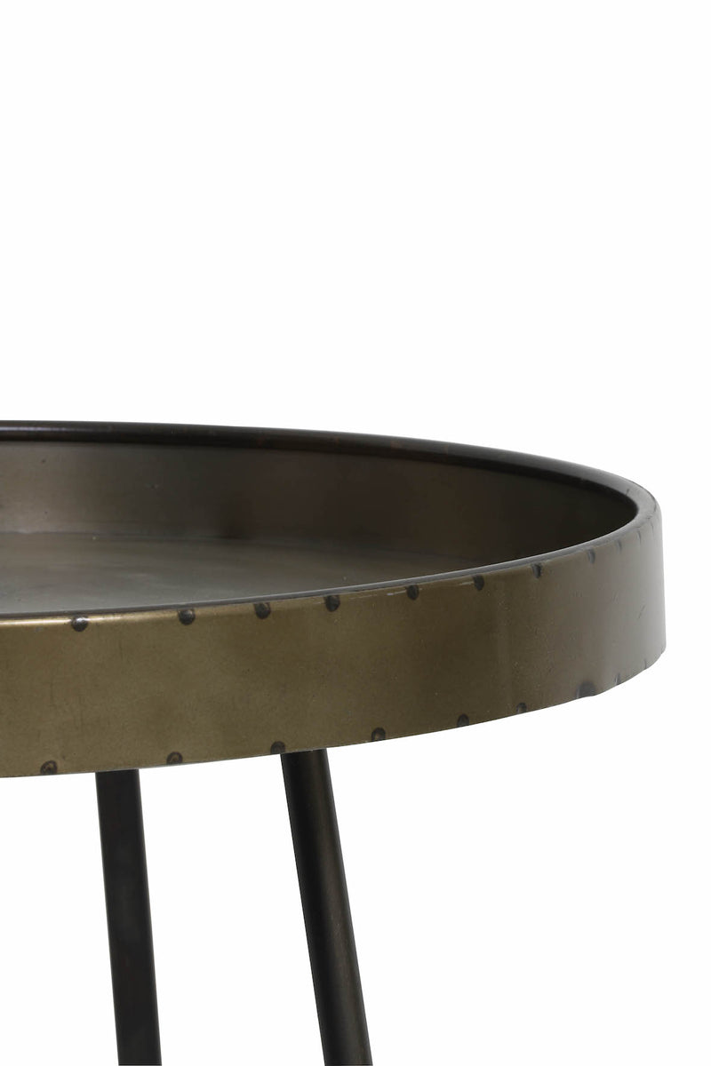 Industrial Round Side Table with Handle