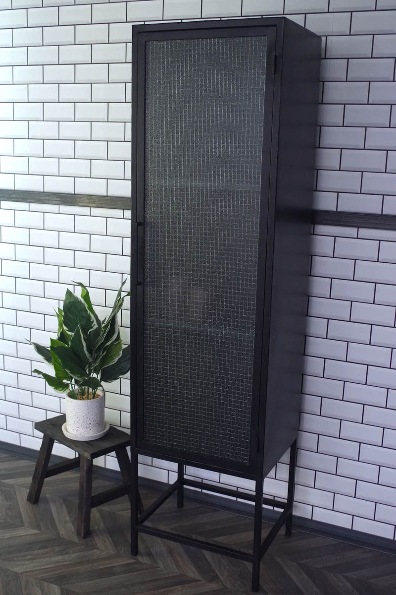 Industrial Tall Wired Glass Cabinet