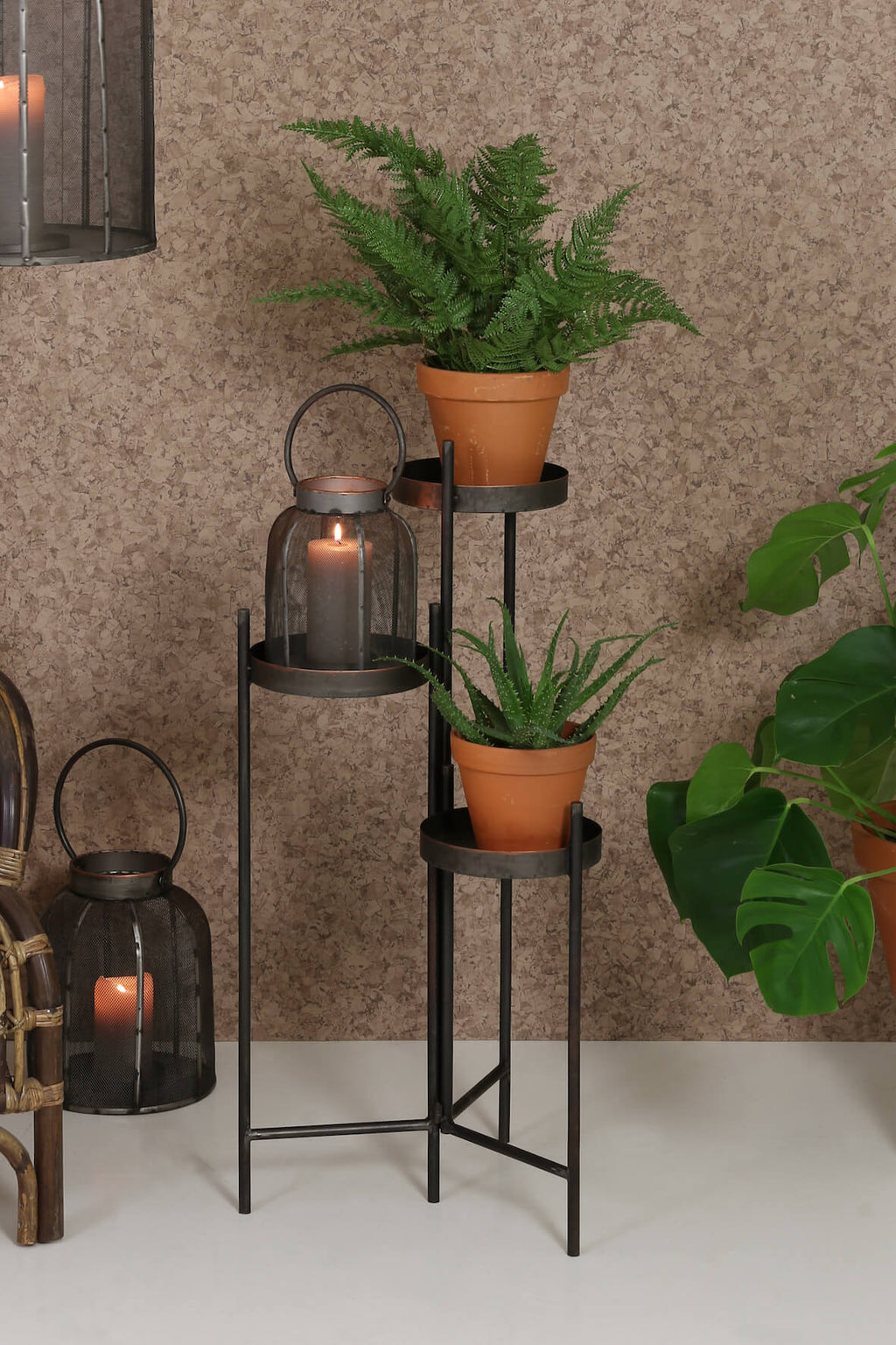 Industrial Tiered Metal Plant Stand