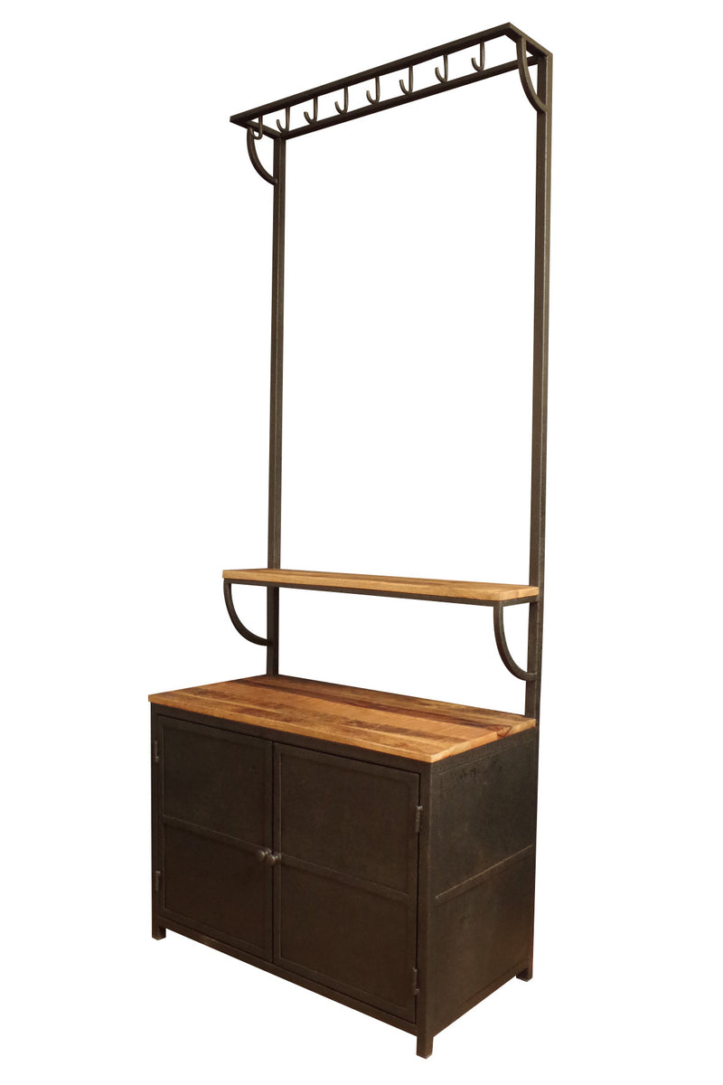Industrial metal and wood Hall Stand. Shoe cupboard and hooks for coats.