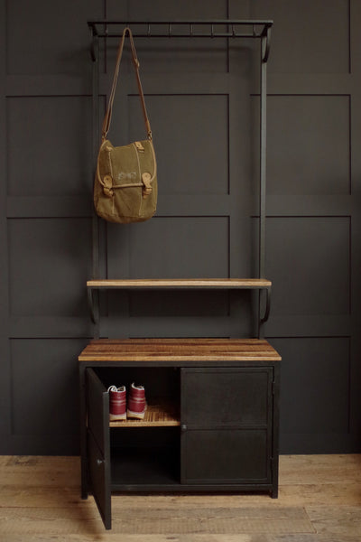 Industrial Hall Stand With Hooks And Cupboard Vincent