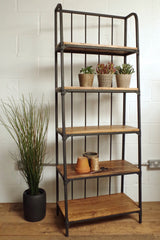 Industrial style bookshelf with 5 wooden shelves.