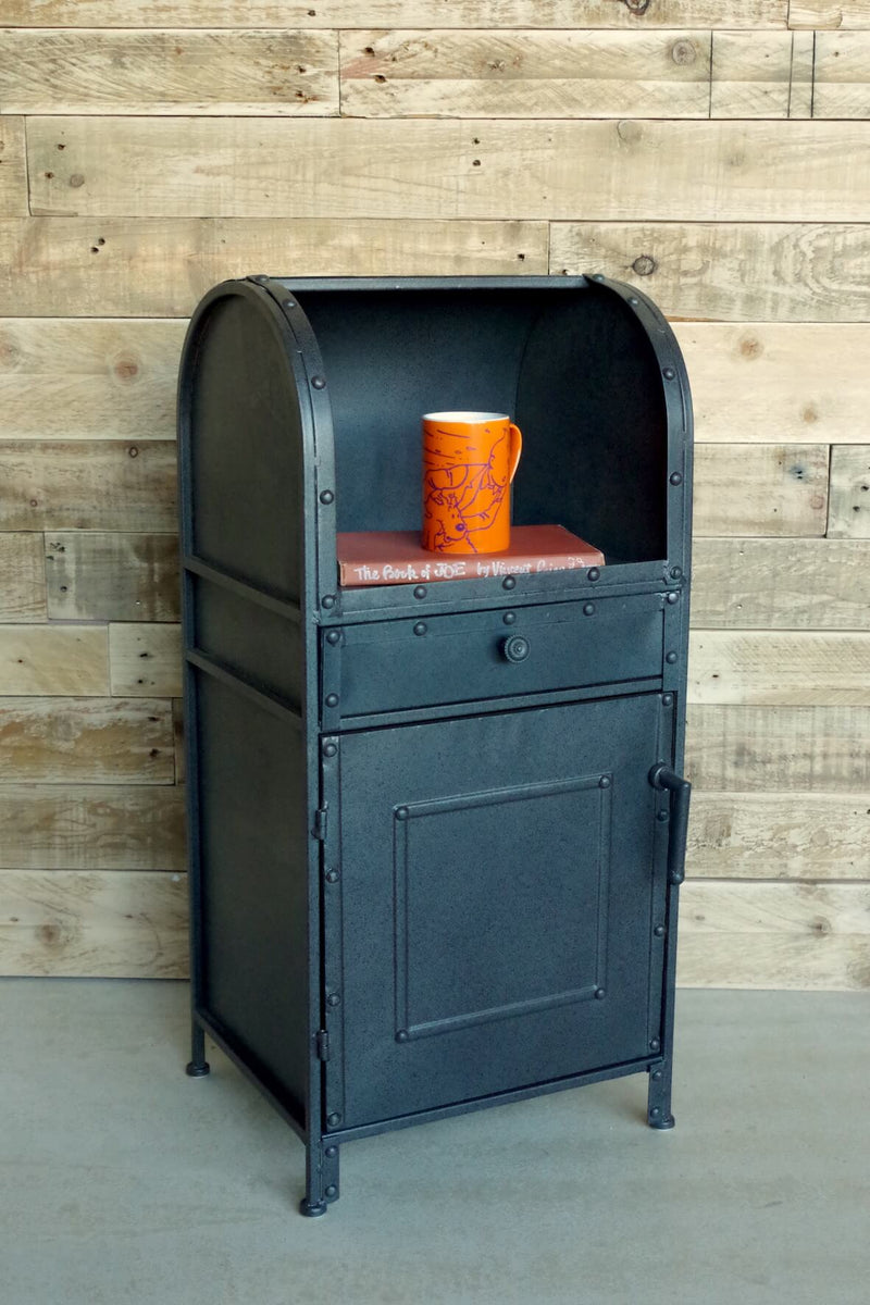 industrial style side table with mailbox design