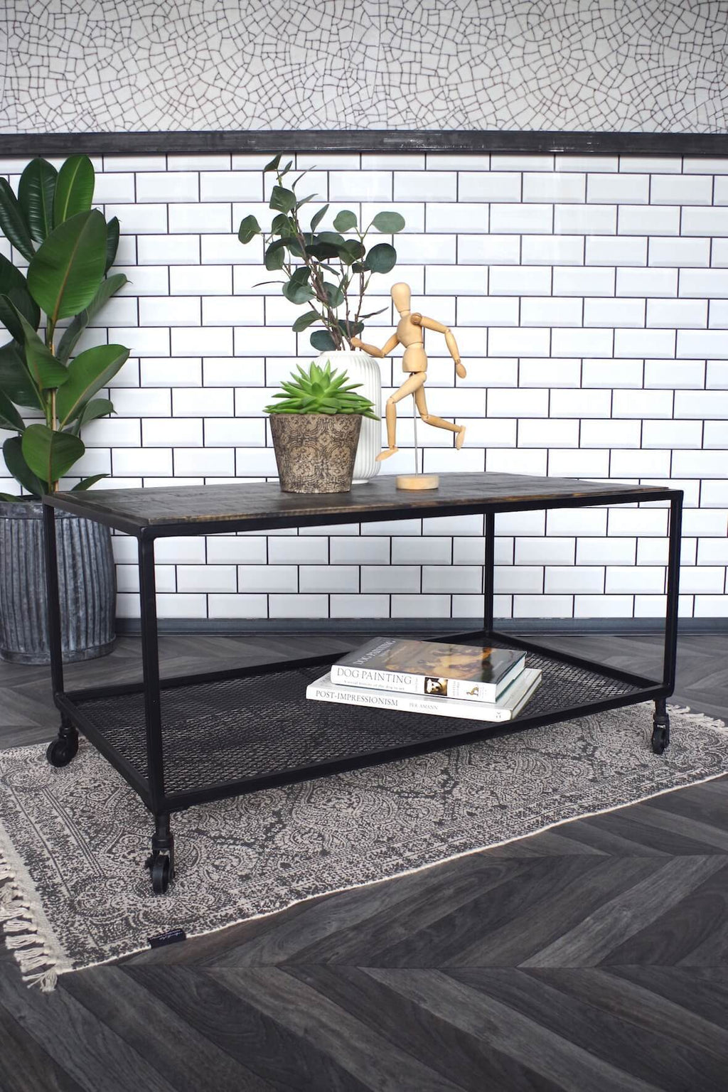 Industrial Mesh and Wood Coffee Table