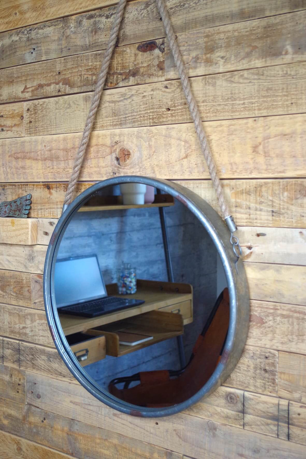 Industrial Round Hanging Mirror