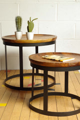 Set of 2 Round Tables. Industrial style made from metal and sold wood.