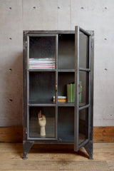 Low Industrial Display Cabinet with 2 shelves and glass doors.