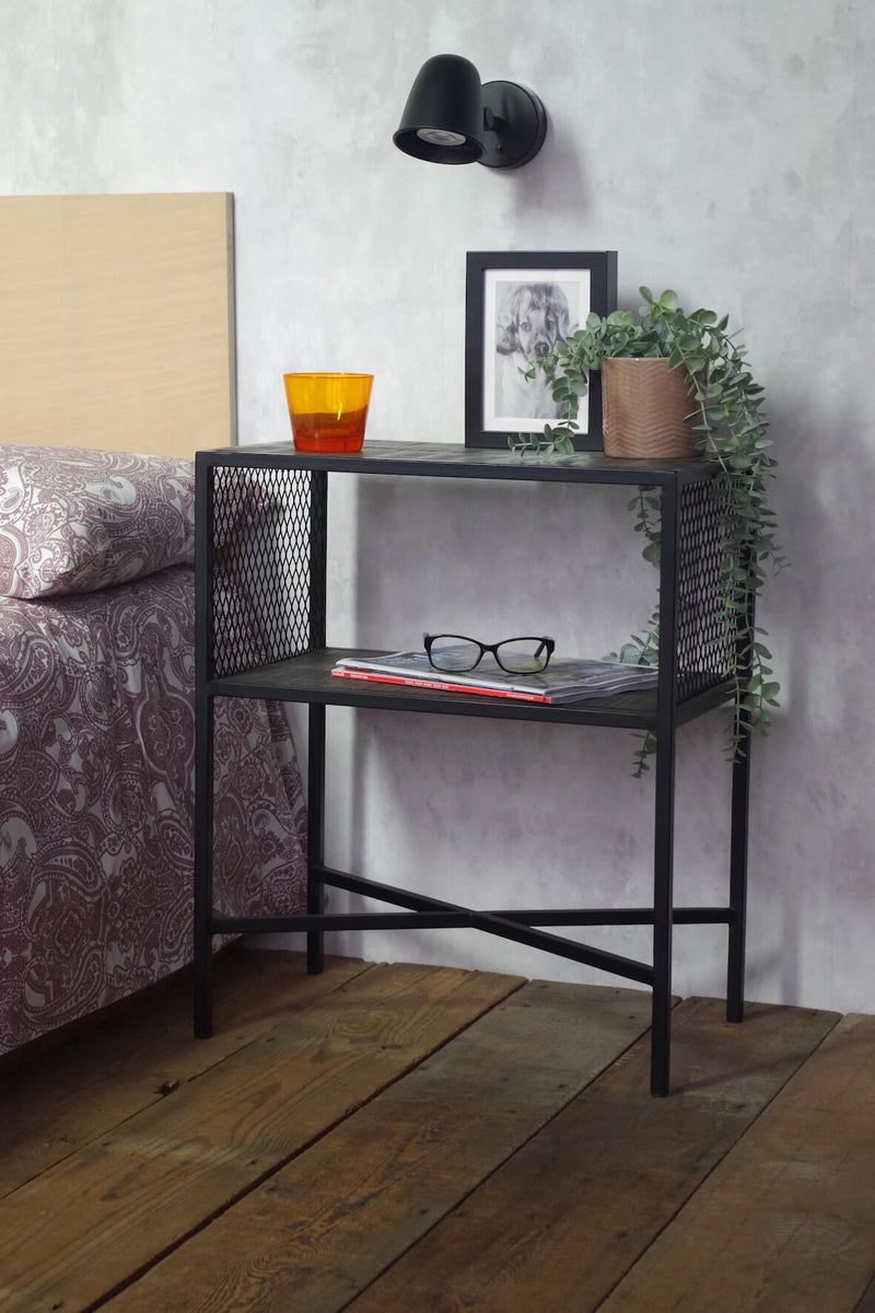 Mesh and Wood Side Table