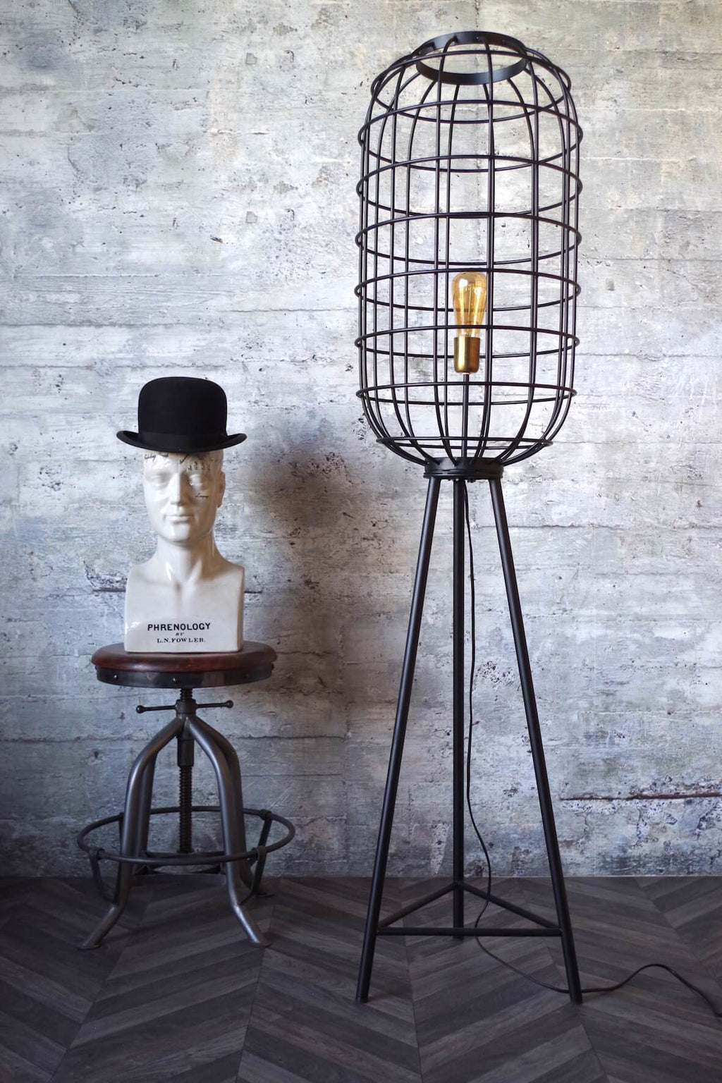 Ozzie Industrial Cage Floor Lamp - Black