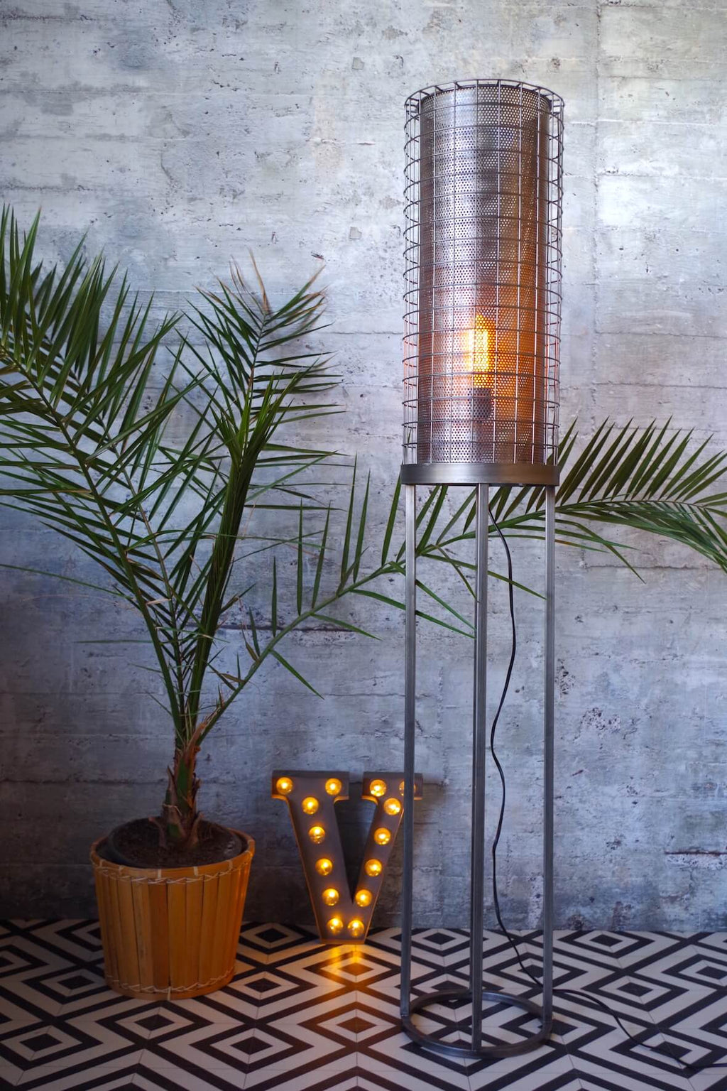 Perforated Floor Lamp - Zinc