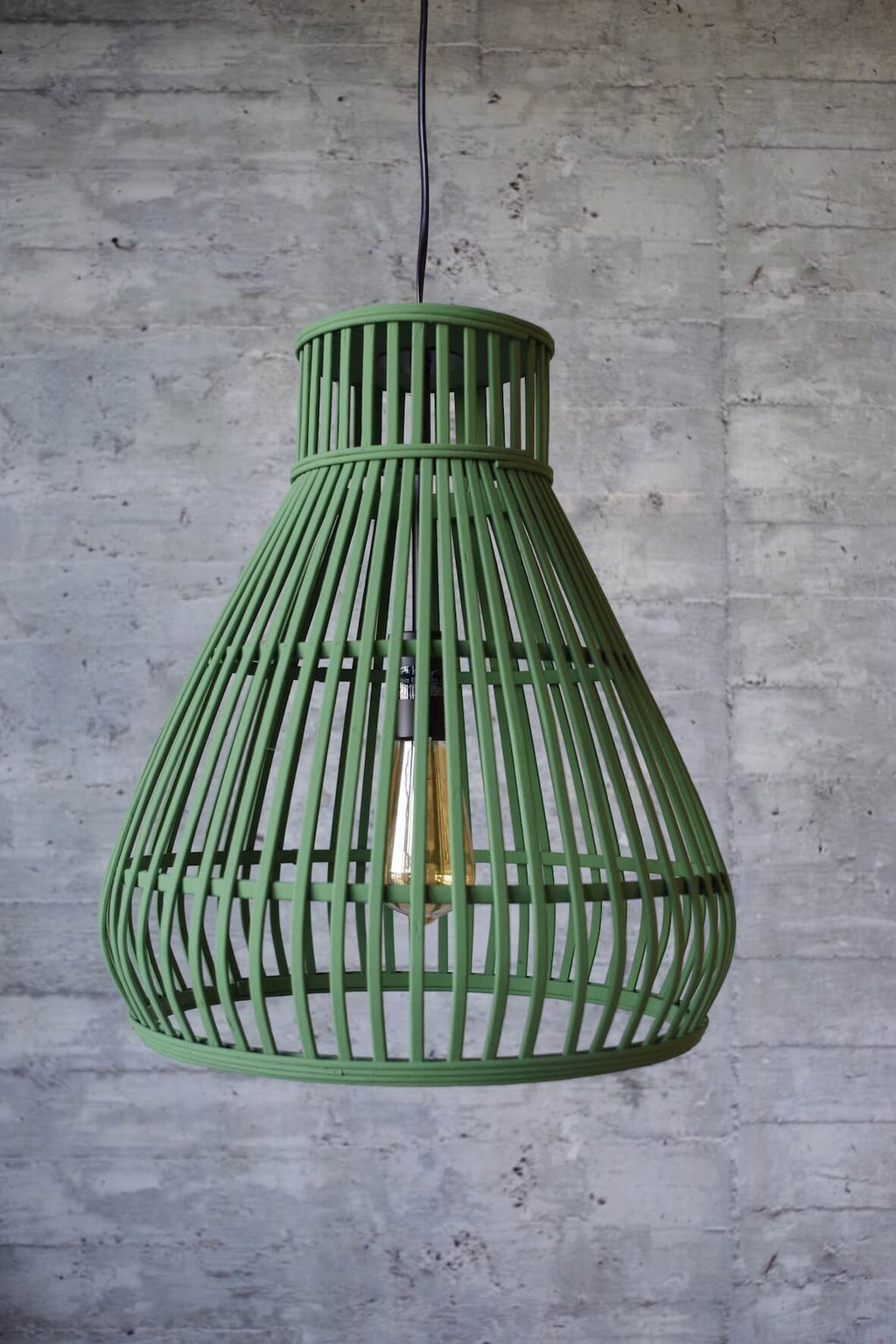 Rattan Boho Pendant Light - Green