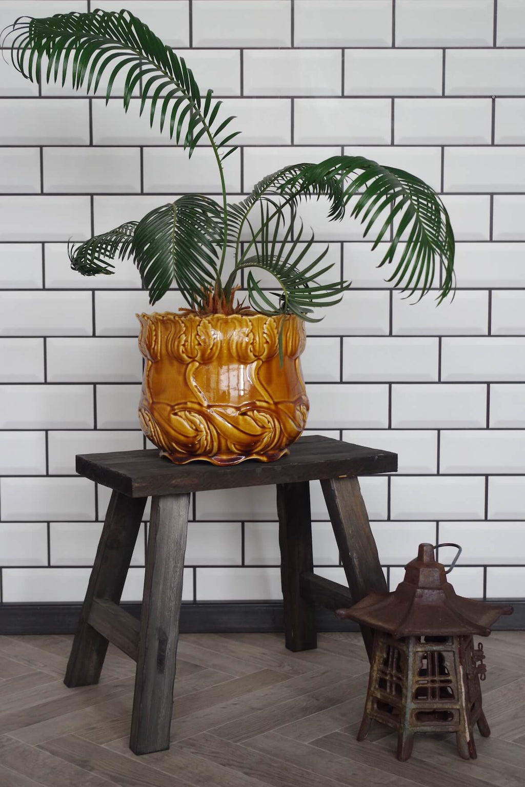 Rustic Wooden Plant Stool