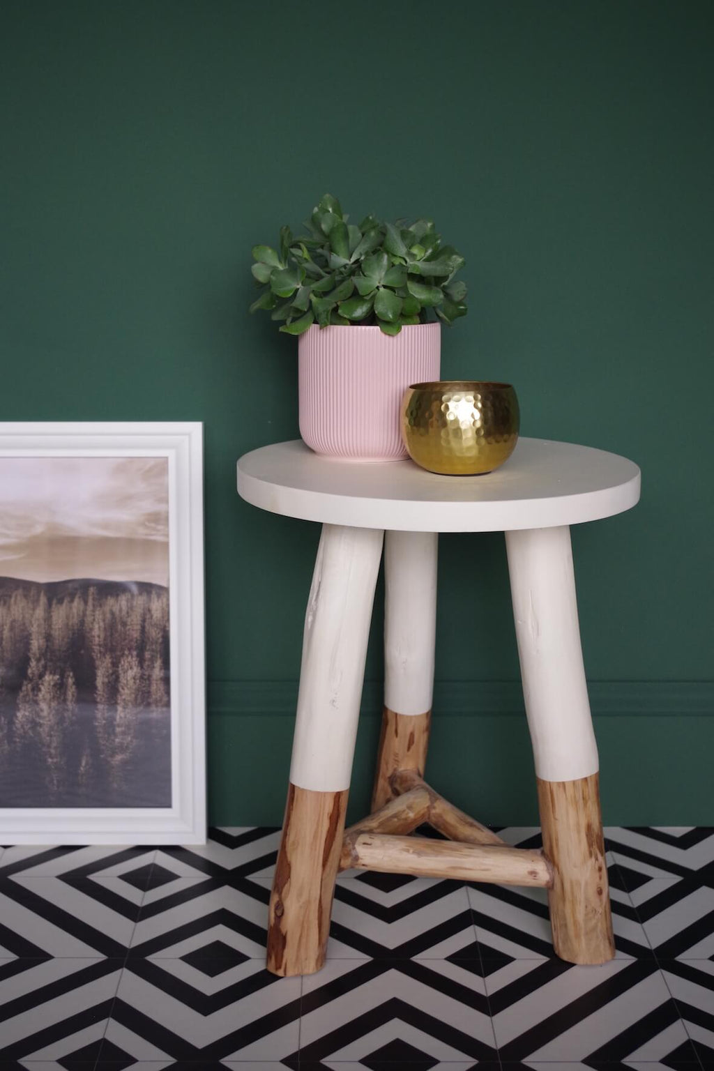 Rustic Dipped Stool - White