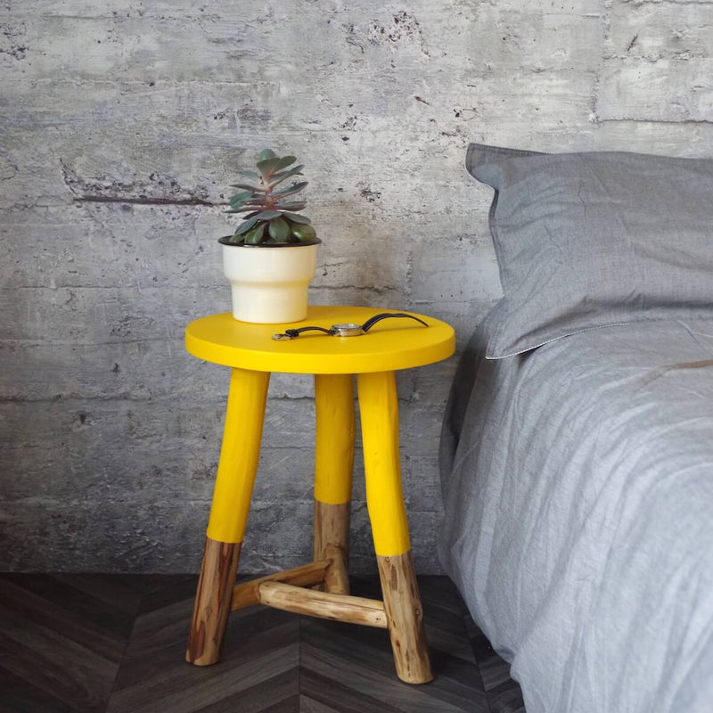 Rustic Dipped Stool - Yellow