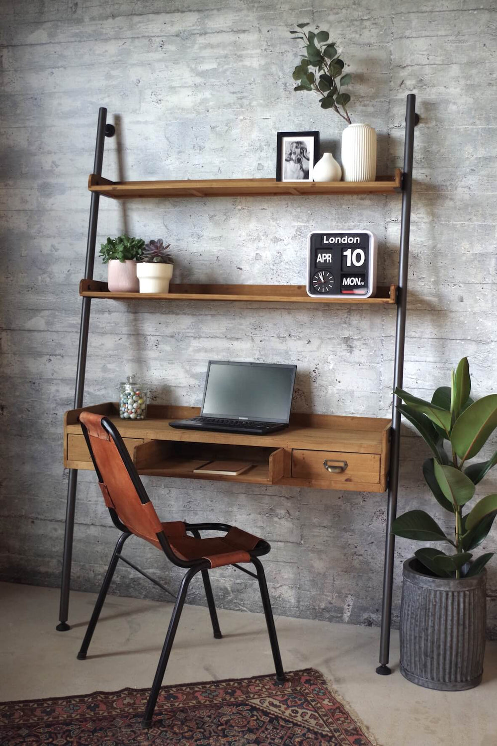 Rustic Style Ladder Desk With Shelves And Drawers Vincent And Barn