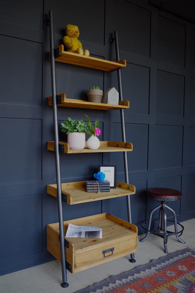 Rustic Ladder Shelves