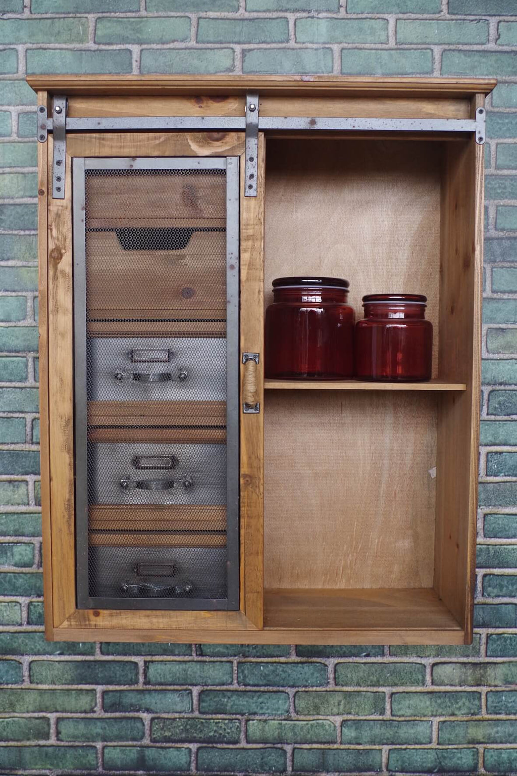 Rustic Sliding Door Wall Cabinet
