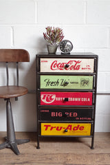 Black metal frame unit with 5 vintage style soda crate drawers.