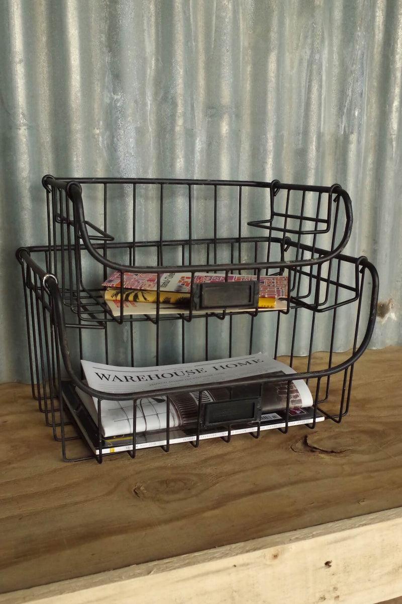 Set of 2 industrial style stacking wire trays