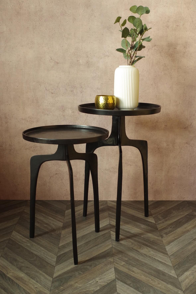 Tripod Cast Metal Side Tables - Set of 2