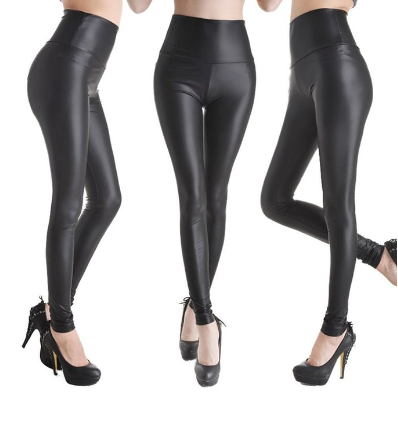 Faux Leather High Waist Leggings - Fashion Sense - 1