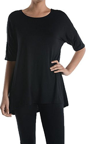 Loose Fit Womens Rayon Jersey Half Sleeve Simple Basic Top - Fashion Sense - 1