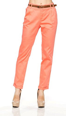 Stretchy Cotton Front Zip Ankle Trouser Pants - Fashion Sense - 1