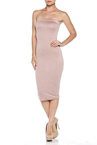 Fitted Comfy Basic Cotton Span Midi Tube Dress - Fashion Sense - 1